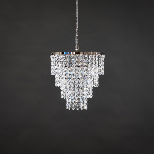 The stylish and elegant chandelier New Wave 2 brings the atmosphere of a festive crystal lamp to either every day or celebration.