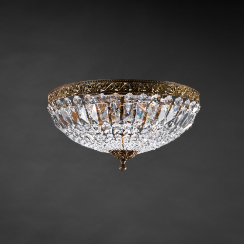 The classic ceiling lamp represents the historical style of crystal lamps. This crystal lamp is a complete and striking decorative element.